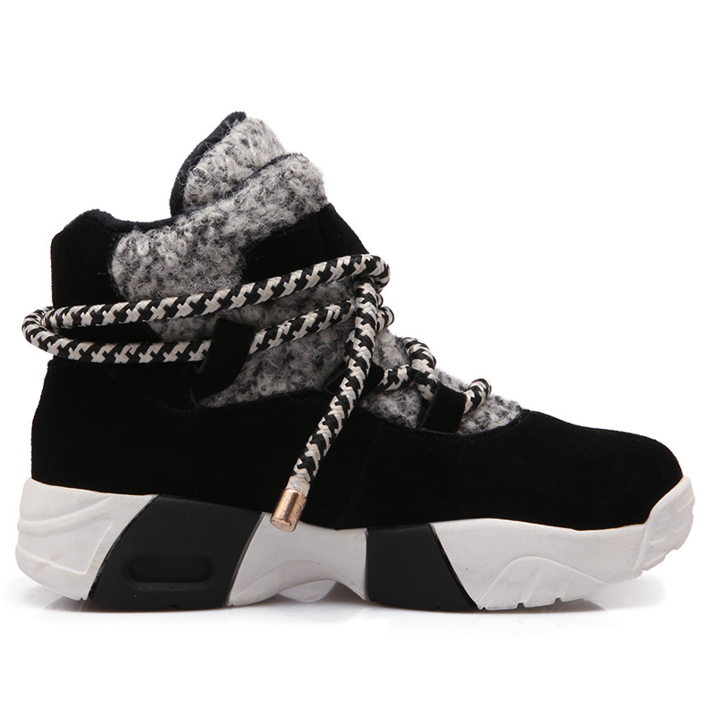 Nature Suede Snow Boots Women Winter Platform Heels Cross Strap Casual Shoes G321 Woman Round Toe Lace Up Black Warm Ankle Boots