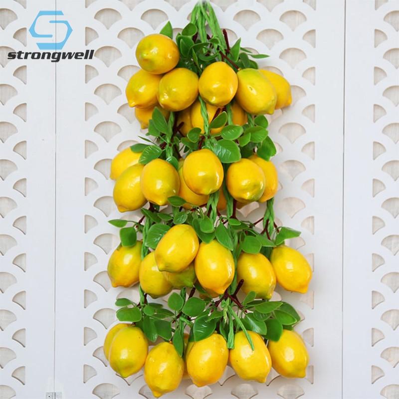 Simulation PU Lemon Model Artificial Lemon Fruits Photography Props Home Figurine Garden Wall Decoration Fruit Store Ornaments