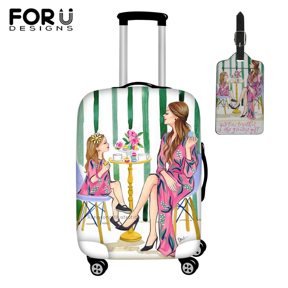 FORUDESIGNS Baby Mom Girl Queen Printing Travel Accessories Elastic Dust Women Luggage Tag Protective 18~30 Inch Suitcase Cover