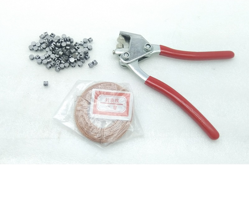100pcs Round Lead Seals Beans 100m Copper Wire 1pcs Sealing Crimper with Red Plastic Coated Handle Sealing Plier Kit