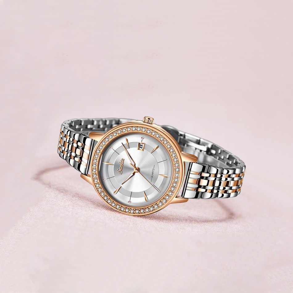 2020 klasik kadın gül altın Top marka lüks Laides elbise iş moda rahat su geçirmez saatler kuvars takvim kol saati