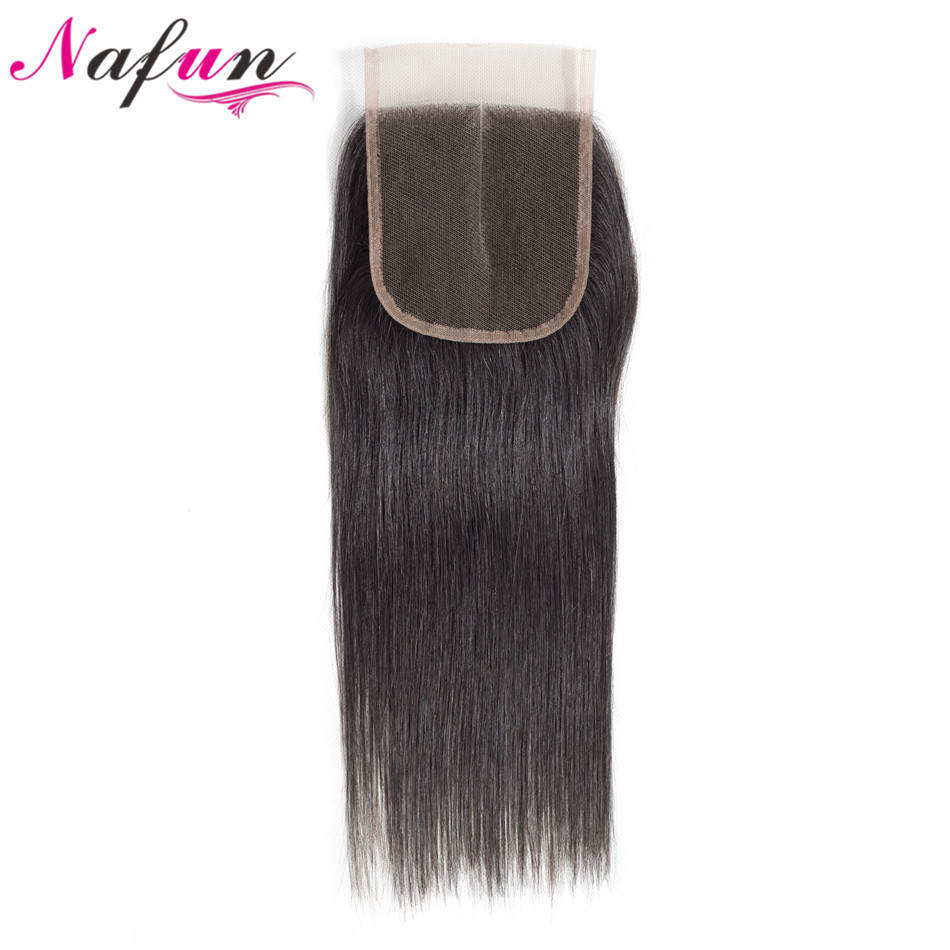 NAFUN Hair Brazilian Lace Closure 4X4 Human Hair Closure Straight Middle Part Closure Top Closure Remy Hair Free Fast Shipping