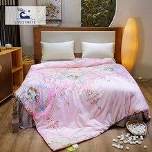 Liv-Esthete European Court 100% Mulberry Silk Pink Duvet Comforter Filled Four Seasons Blanket Double Queen King Quilts
