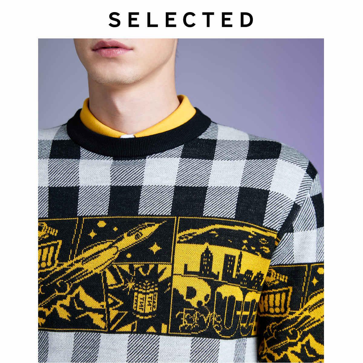 Wybrany męski zimowy sweter z wełny nowy sprawdzony nadrukowany sweter na drutach L | 419424543