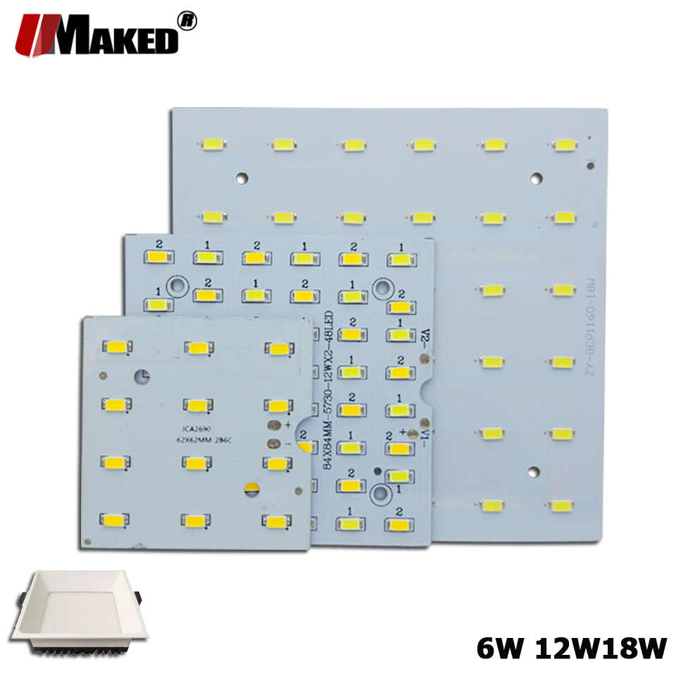 5/10Pcs LED PCB 6W 12W 18W LED Downlight Aluminium Plaat Verlichting Heatsink SMD5730 110lm /w Vierkante Lichtbron Voor Panel lampen