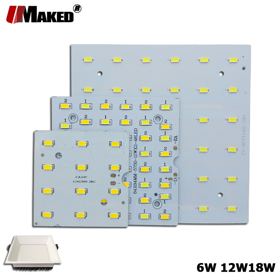 5/10Pcs LED PCB 6W 12W 18W LED Downlight Aluminum Plate Lighting Heatsink SMD5730 110lm/w Square Light Source For Panel Lamps