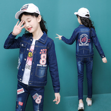 Autumn Toddler Baby Girls Clothes Letter Printed Jeans Tops + Jeans Pants 2pcs set 6 8 10 12 Kids Casual clothing  sets for girl toddler girls clothes size 10 boutique coat t shirt jeans pants age 6 8 10 12 years old autumn children clothing girls sets