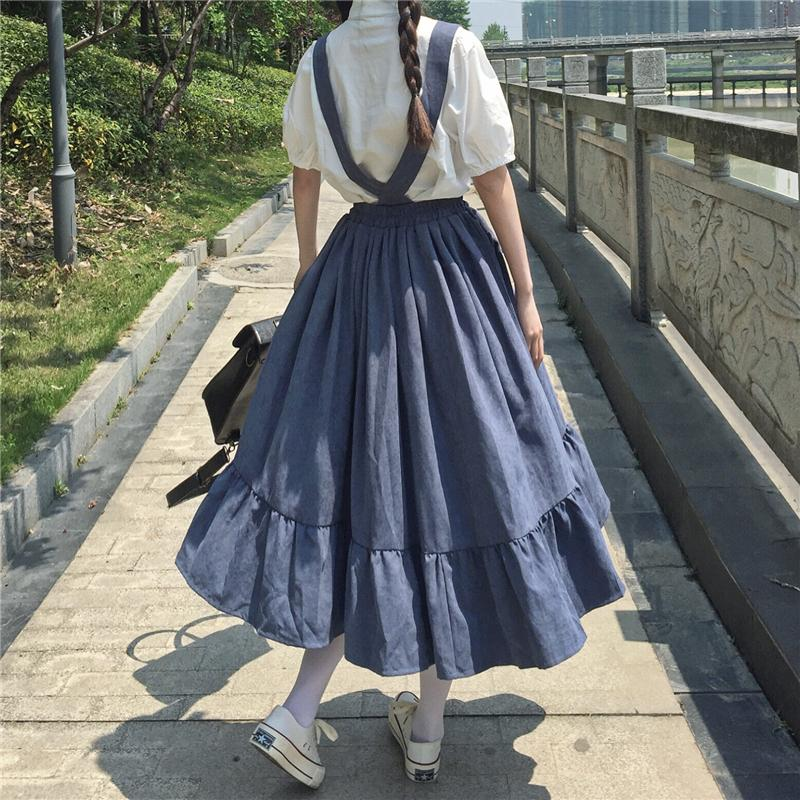 Midi Skirt For Women 2020 Summer Japanese Style Kawaii Lolita Skirt 90S Teens Soft Girl High Waist Ruffles Suspender Skirts