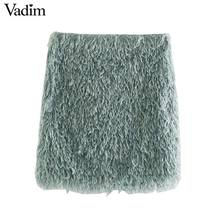 Vadim women stylish feather mini skirt tassels back zipper stretchy slim fit female solid casual chic skirts mujer BA867