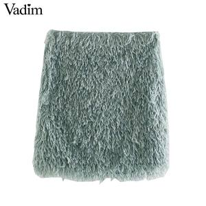 Image 1 - Vadim women stylish feather mini skirt tassels back zipper stretchy slim fit female solid casual chic skirts mujer BA867