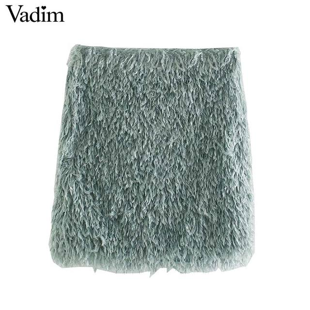 Vadim women stylish feather mini skirt tassels back zipper stretchy slim fit female solid casual chic skirts mujer BA867