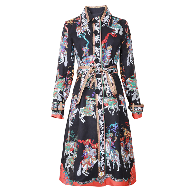 VERDEJULIAY Runway   Trench   2020 Autumn Winter New Fashion Vintage High Quality Belt Colorful Flower Printed Black   Trench   Coat