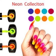 LOVCARRIE 8 Teile/satz UV Gel Nagellack 6,5 ml Tränken Weg Von Vernis Semi permanent Nail art Helle Neon Farbe Gelpolish lack Lak