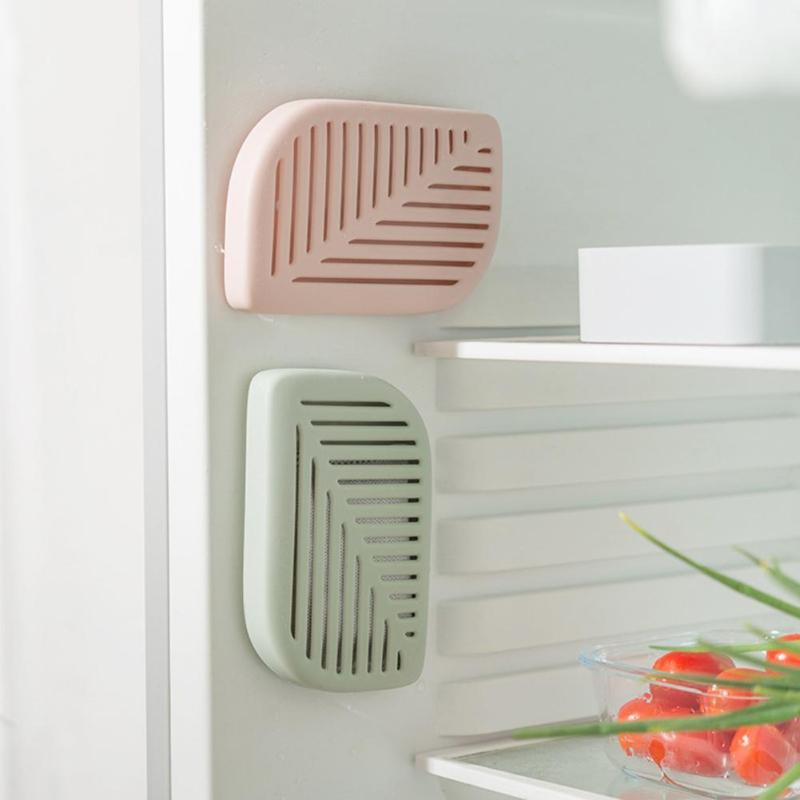 Green Leaf Shape Fridge Refrigerator Air Fresh Box Purifier Charcoal Deodorizer Absorber Freshener Eliminate Odors Smell 3 Color