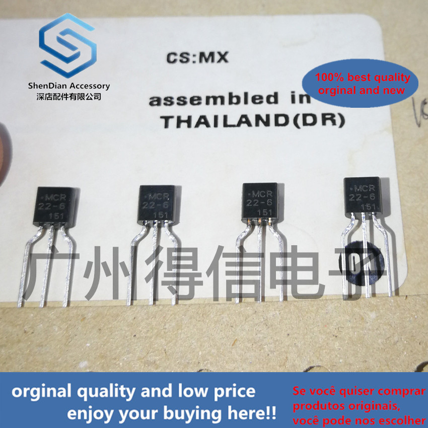 10pcs 100% Orginal New MCR22-6 22-6  TO-92 SENSITIVE GATE SILICON CONTROLLED RECTIFIERS  Real Photo
