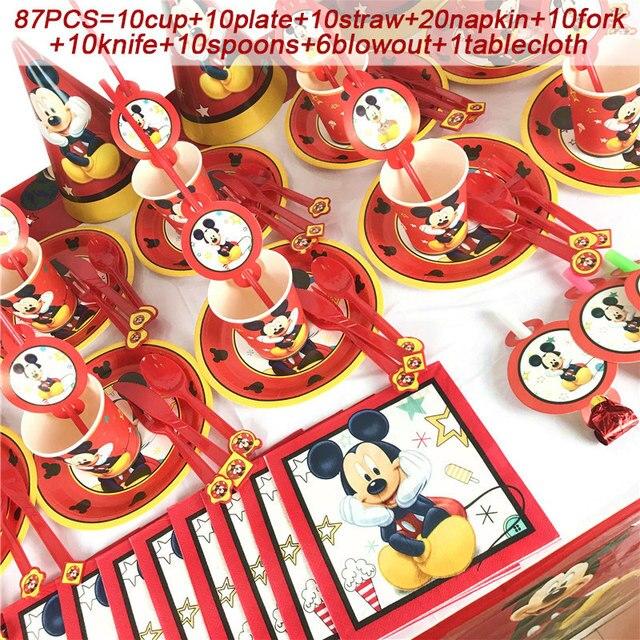 Chuột Mickey Sinh Nhật Bộ 1st Sinh Nhật Bé Trai Chuột Mickey Đỏ Tiệc Chủ Đề Bộ Đồ Ăn Trẻ Em Sinh Nhật Vật Dụng Trang Trí