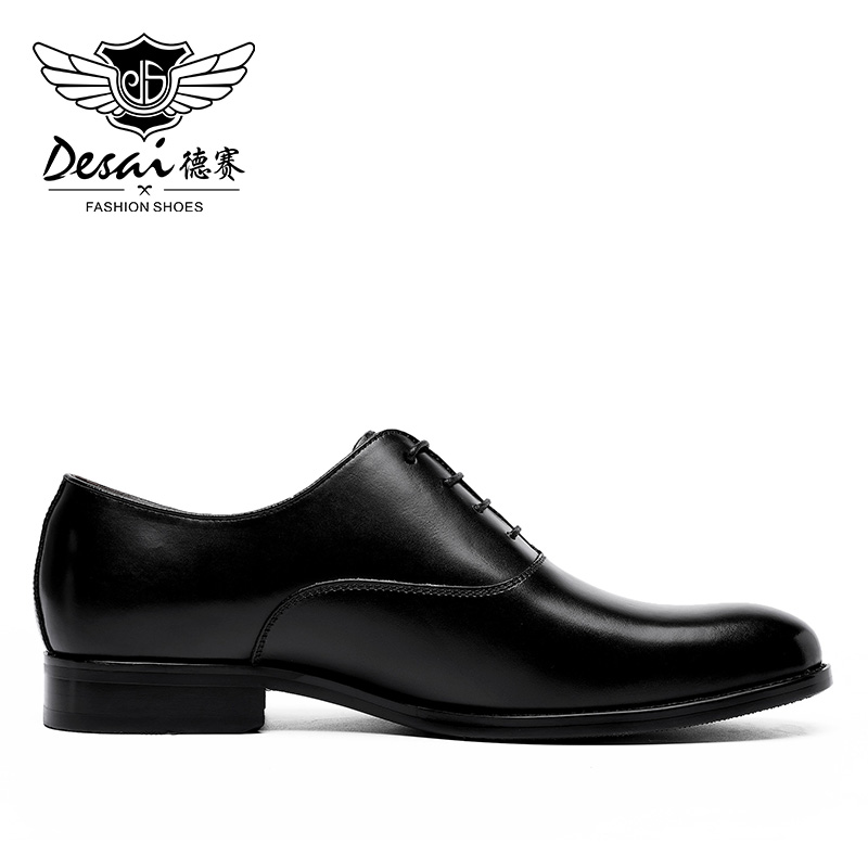 DESAI Black Italian Fashion Business Oxford Leather Casual Shoes For Men