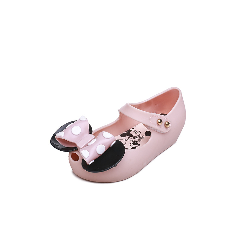 Mini Melissa Girls Jelly Sandals Mickey Bow Summer Children Mesh Hole Girls Breathable Jelly Shoes Girls Sandals Shoes
