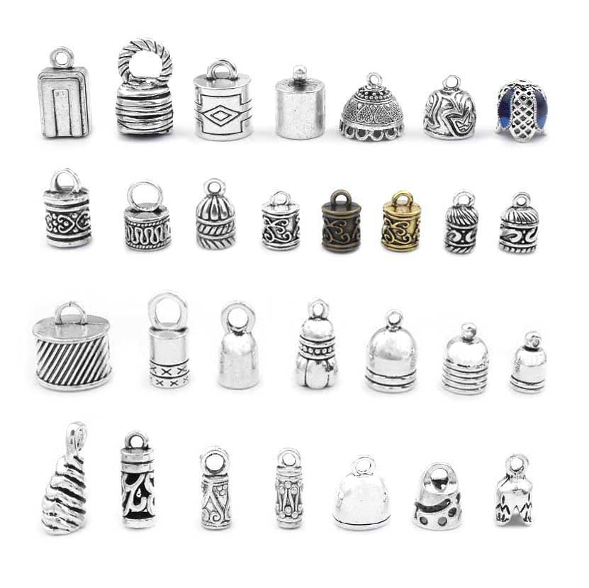 10pcs Antique Silver Metal End Bead Caps Jewelry Finding Charms Tassel Cap Crimp End  Bracelet Jewelry Accessories