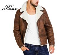 цена на Faux Fur Collar Faux Leather Jacket Men Winter Brown Suede Jacket Fleece Warm Bomber Coats Male Outwear Pocket 3XL Side Zipper