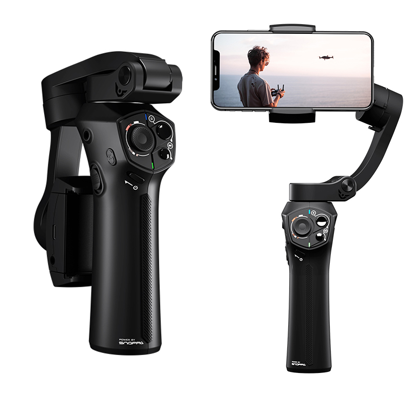 Stabilisateur de cardan de poche pliable Atom 3 axes Smartphone de poche pour IPhone Samsung Huawei XiaoMi GoPro charge sans fil