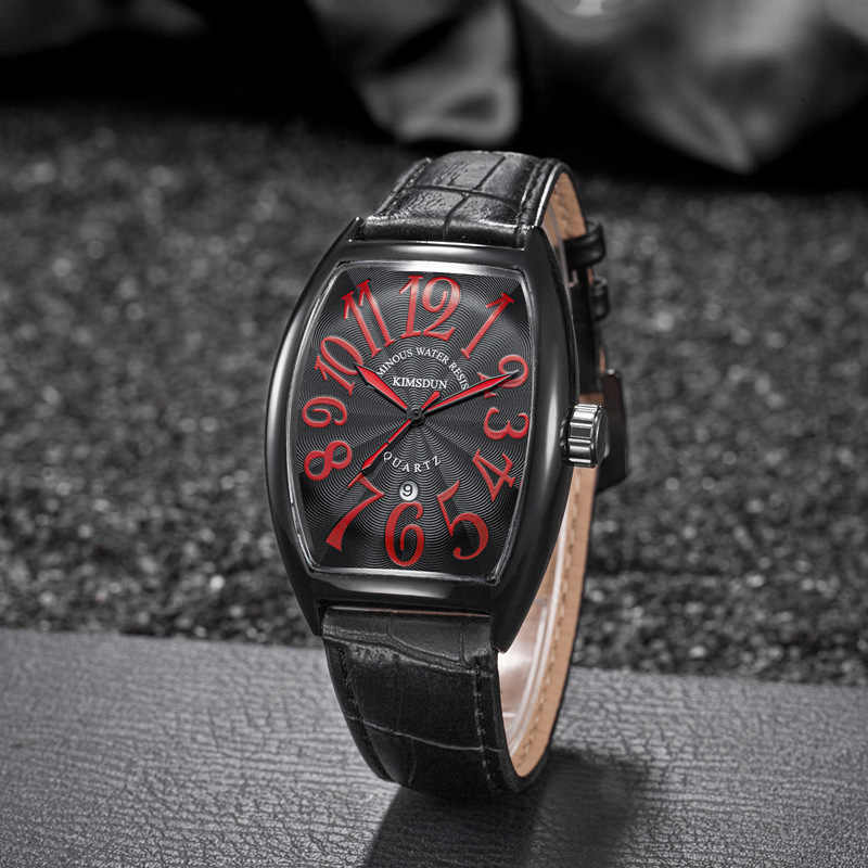 Reloj de marca de lujo para hombre, reloj de barril de vino de cuarzo, reloj cuadrado de cuero Casual de moda, reloj de pulsera resistente al agua, reloj Masculino