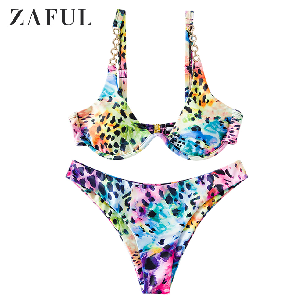ZAFUL Leopard Tie Dye Chains High Cut Bikini Swimsuit Padded Underwire Swimwears Elastic Push Up V Wired Print Sexy Bikini Set