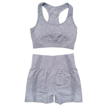 Seamless Women Vital Yoga Set Workout Shirts Sport Pants Bra Gym Clothing Short Crop Top High Waist Running Leggings Sports Set 16