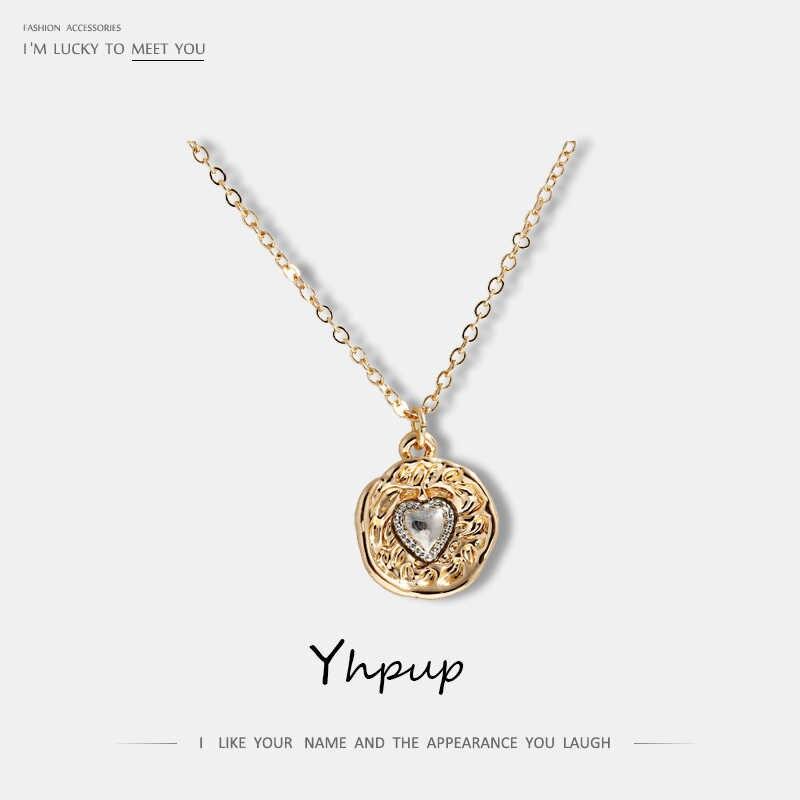 Yhpup 流行のヴィンテージバロック小さなハート幾何ペンダントネックレス亜鉛合金金属 Collares デモーダ 2019 パーティージュエリー