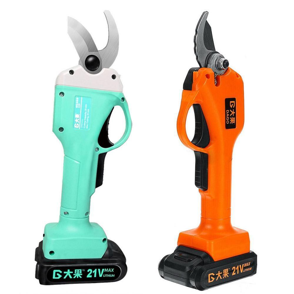 21V 30mm Battery Electric Scissors Tools I5N5 Cutting Pruning Cordless Shears Pruners Secateur  With 2 Ga Rechargeable 1 Pruning