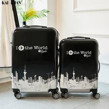 24 дюйма ABS+ PC чемодан на колесиках для путешествий 20 ''ручной клади прокатки Чемодан кабина сумка на колесиках для путешествий Детский чемодан