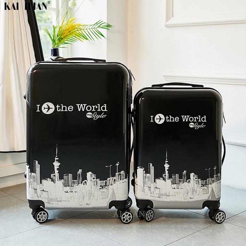 Polegada ABS + PC mala de Viagem da bagagem do trole 20 24 ''continuar rolando saco do trole da bagagem de Cabina para viajar crianças saco Da Bagagem
