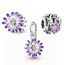 2021 New S925 charms Pouple Daisy Flower moments charms S925 Silver Color Charm Fit Original Pandora Bracelet Women DIY Beads