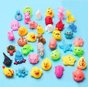 Image 4 - Jouets de bain pour bébé, 10 pièces/ensemble, animaux doux flottants en caoutchouc, à son, à presser, GYH