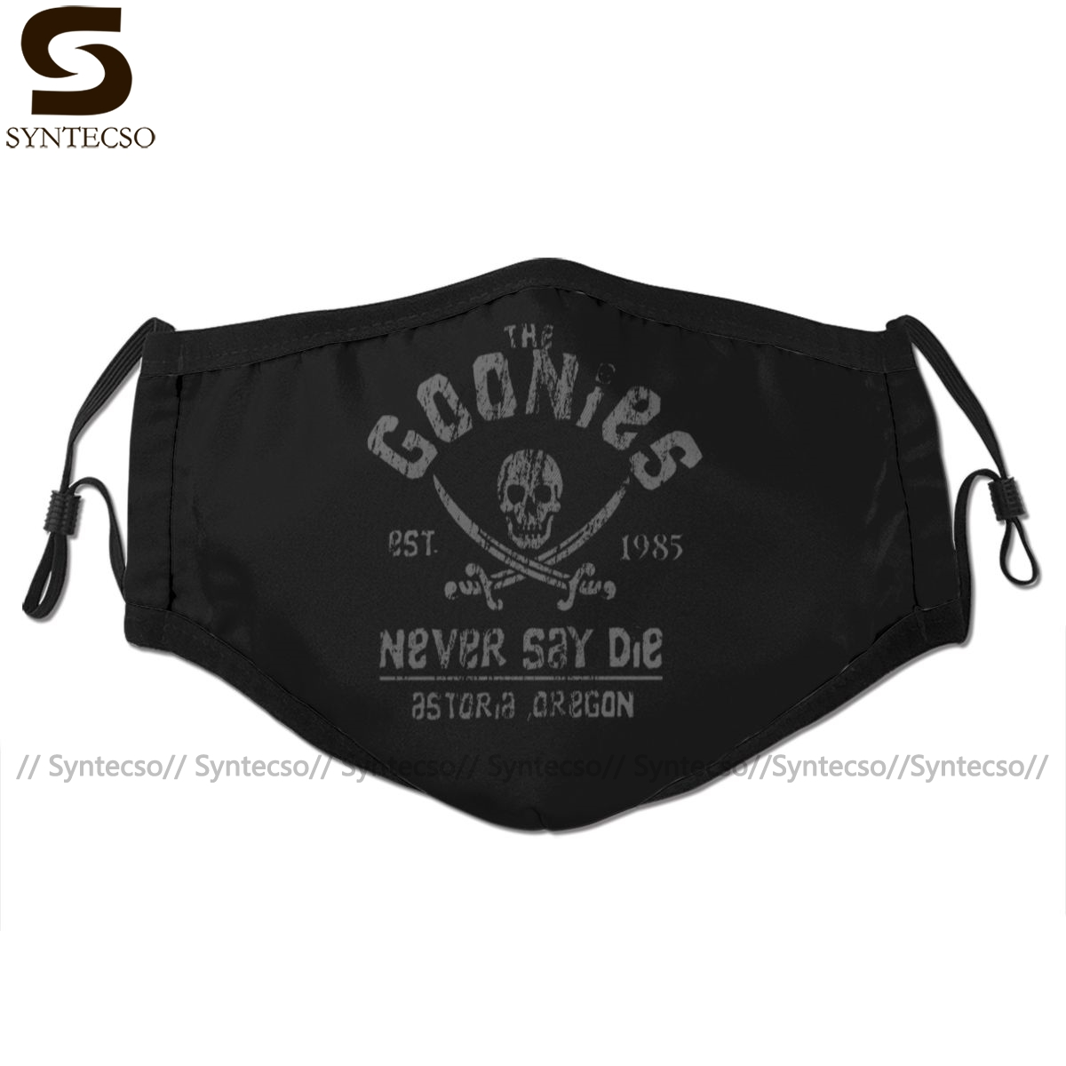 Skull Mouth Face Mask The Goonies Never Say Die Grey On Black Facial Mask Fashion Funny with 2 Filters for Adult