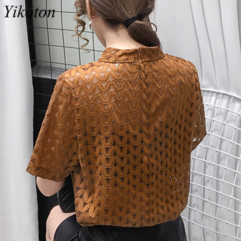 Turtleneck Cotton Women's T-shirts Fashion Hollow Out Summer Clothes For Women T-shirt With Short Sleeve Tops 2021T shirt Female 4