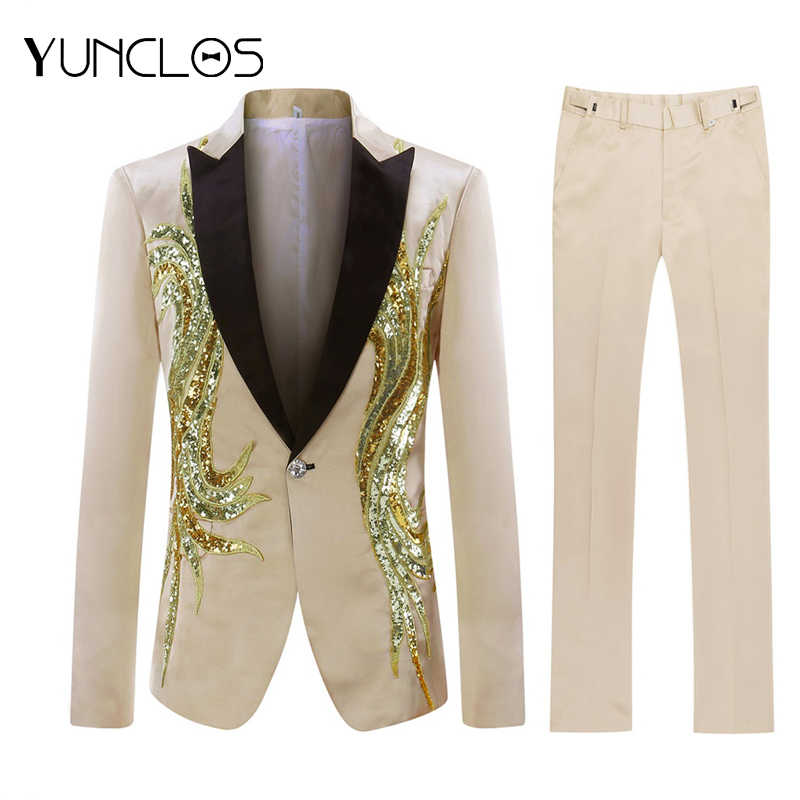 Euro Size Mannen Sequin Suit Party Dress 2 Stuks Gold Kleur Sjaalkraag Slim Fit Pak Luxe Diamond Wedding Party mannen Pakken