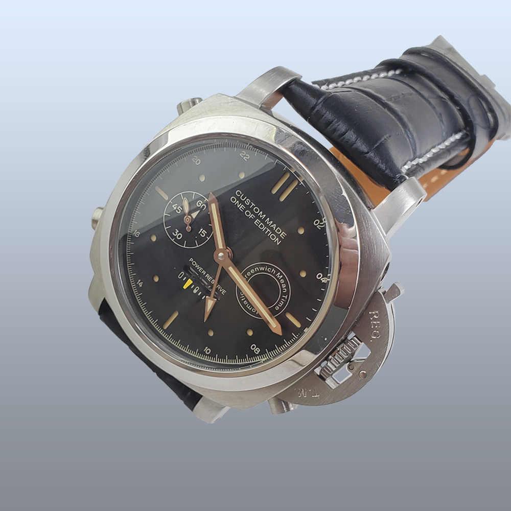 Nuevo reloj automático de reserva de energía de 44MM Movimiento de los hombres 2019 puntero luminoso de cristal mineral de acero caso correa de cuero s31