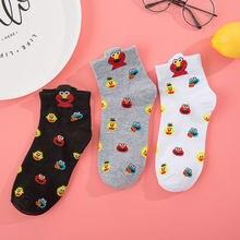 Meias femininas streetwear sésamo rua dos desenhos animados meias para meninas harajuku bonito meias elmo algodão engraçado preto branco