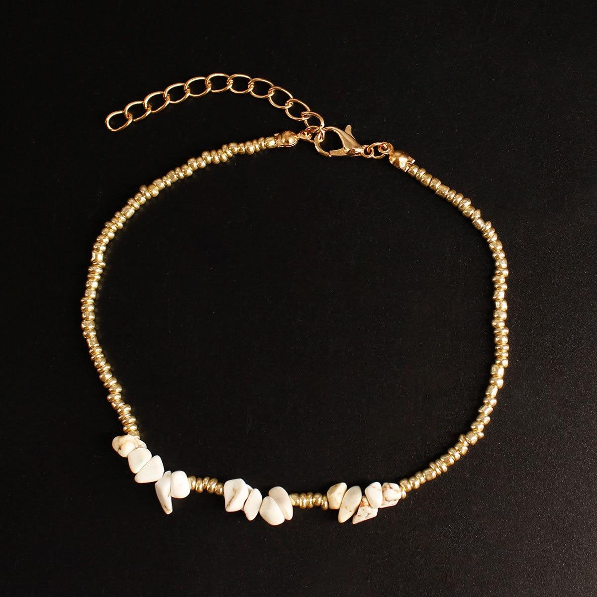 New Arrival Irregular White Stone Beads Anklet Beach Seed Beads Handmade Anklet Bracelets Leg Foot Jewelry For Women Gifts K253