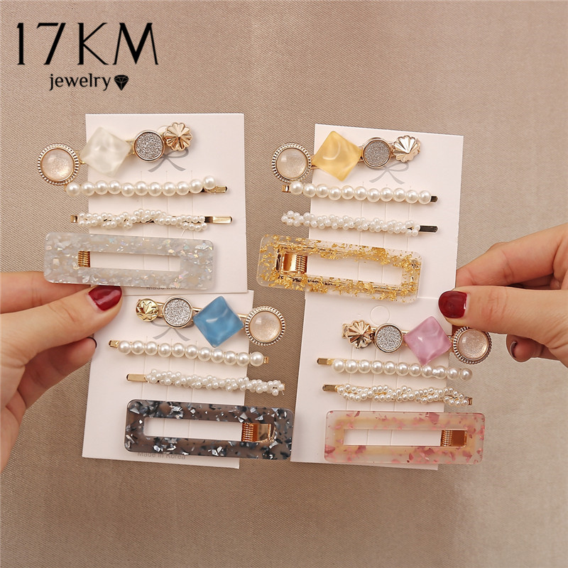 Shiny Hair Clip Set For Women Girls Acrylic Hollow Geometric Rectangle Hair Clips Sequins Hairpins Barrettes Hair Accessories