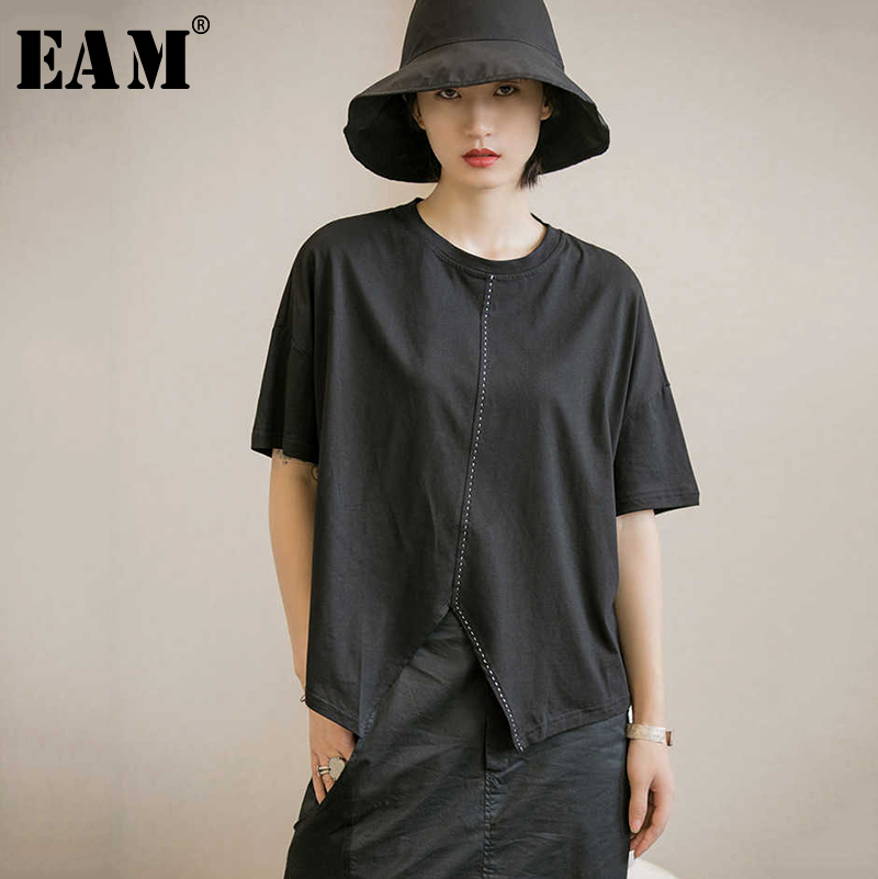 [EAM] Women Black Vent Asymmetrical Split Big Size T-shirt New Round Neck Short Sleeve  Fashion Tide  Spring Autumn 2020 JX726