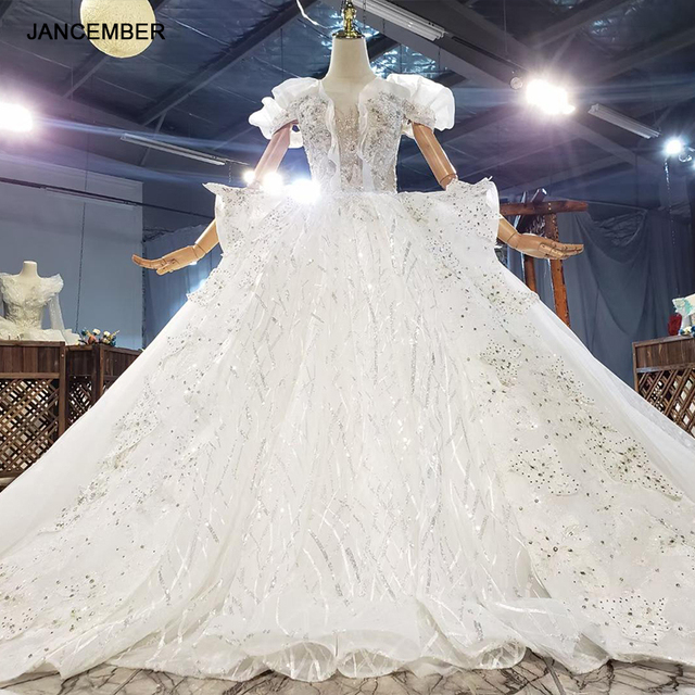 HTL1842 White Sequined Beading Wedding Dress 2020 Short Sleeve Applique Ball Gowns Boat Neck Lace Up Back 1