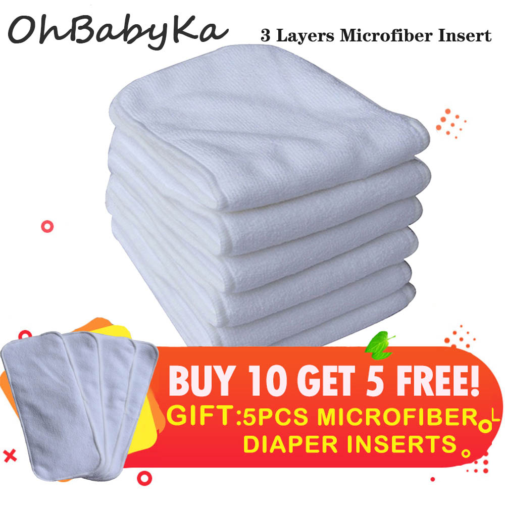 Reusable Diaper Inserts Pack Of 15 Absorbent & Breathable Liners Ohbabyka 3-Layer Microfiber Inserts For Newborn Cloth Diapers