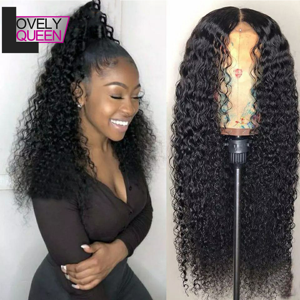 Brazilian Curly Lace Front Wig Human Hair Wig With Bangs For Black Women 150 Density 13x6 Frontal Wig Remy Medium Ratio