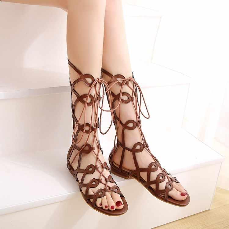 Ponadgabarytowe wysokie sandały na obcasie damskie buty kobieta lato sznurowane sandały na niskim obcasie z odkrytymi palcami
