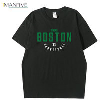 Boston Kyrie Irving Mens T-shirt Top Fashion Cotton Short Sleeve Tops Men Tshirt Loose Casual Tee Hip Hop Funny Letter T Shirt