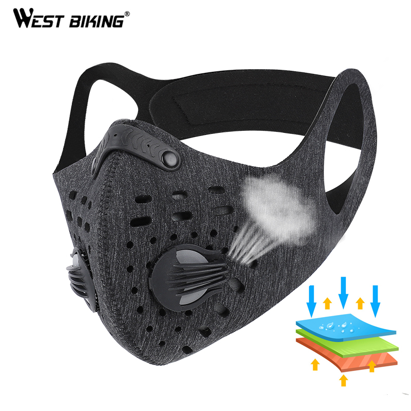 WEST BIKING Anti Dust Bicycle Face Mask With Filter Activated Carbon Men Women Running Cycling Anti-Pollution Bike Face Mask