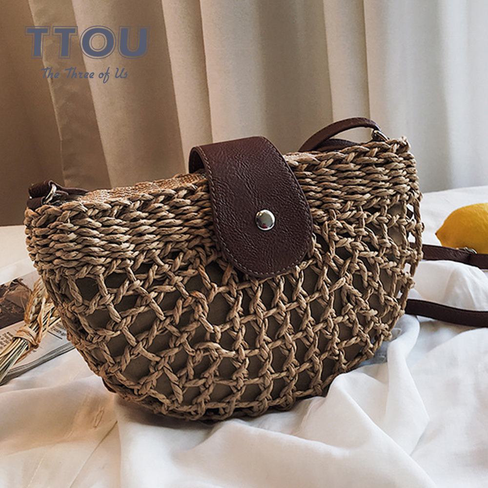 Summer Round Shape The New Straw Bag Handbags Women  Rattan Bag Handmade Woven Beach Circle Bohemia Straw Cross Body New Fashion