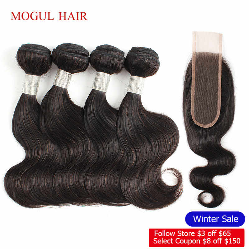 MOGUL HAIR 50g/pc 4 Bundles with 2x6 Kim K Lace Closure Dark Brown Brazilian Body Wave Non Remy Human Hair Short Bob Style